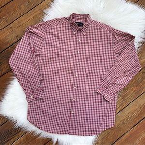 Eddie Bauer Red & Cream Long Sleeve Shirt L
